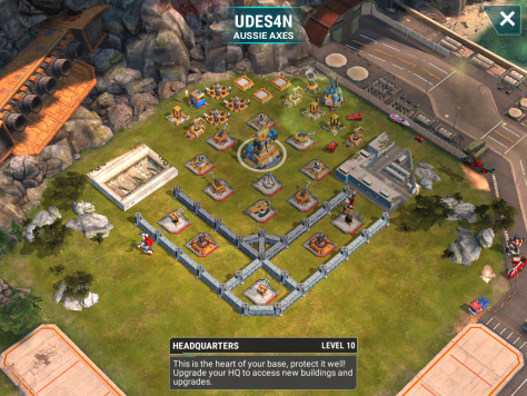 We are getting a pretty soft line up on our side tonight! That usually means they are getting our nasty bases in return. Our fourth base is a level 10 base as well. There is a decent spread to the mortars and beam, so area damage is not optimal here. Also, we have three level 6 mortars and a level 4 beam. So, some of our lower members may need to take this slow. Remember that mortars have dead zones, so you can charge into them. Also, snipe-flying is a very good thing.