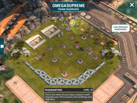 We start off relatively simply, a level 10 base with some decently built defenses. You'll need to either use fliers or rush over to mortars to take them out. I went in from the right because there are a number of ability point generation spots to attack over there.