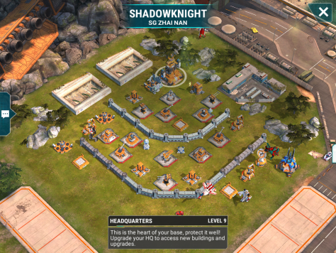 We are starting tonight with a level 9 base. The design is cent for a level 9, but nothing that should give any trouble at this phase in our careers. There's a bit of a decent spread to the major defense points, so you'll need to focus fire each one if you don't have the power to take the damage. There's also free energy points to the right side of the base. Good luck everyone.