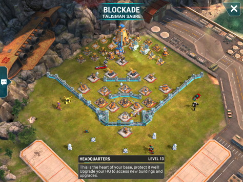 We end the night with a level 13 base. This will be a challenge for many of you. I can tell you there are Mixmaster points easily spotted between the beams and mortars. However, if you can't one-shot them, you'll have a tough time. A Skywarp may be able to save you some pain. Also, do not forget about EMP.