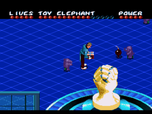 Here's Leslie using his Toy Elephant weapon that will undoubtedly run about for a few seconds, not hit a single enemy and then self-destruct.