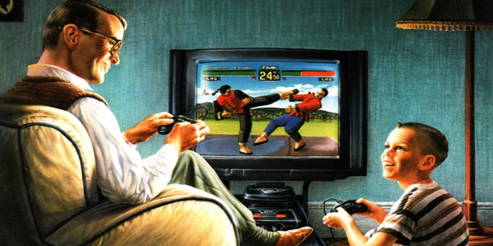 """""""Can I ever be as good at Virtua Fighter as you dad?"""" """"Nope, now keep playing you little shit."""""""