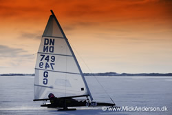 Ramloese, Denmark: DANISH DN ICEBOAT CHAMPIONSHIPS - approx 30 ice sailors competed for the Danish Championship on Lake Arresoe 50 kilometers north of Copenhagen, Denmark. © www.mickanderson.dk