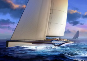"""amorphe Formen am Übergang zwischen Bordwand und Deck: Die """"Exo"""" wird gestalterisch eine Art segelnder Jugendstil. © Dykstra/Claydon Reeves"""