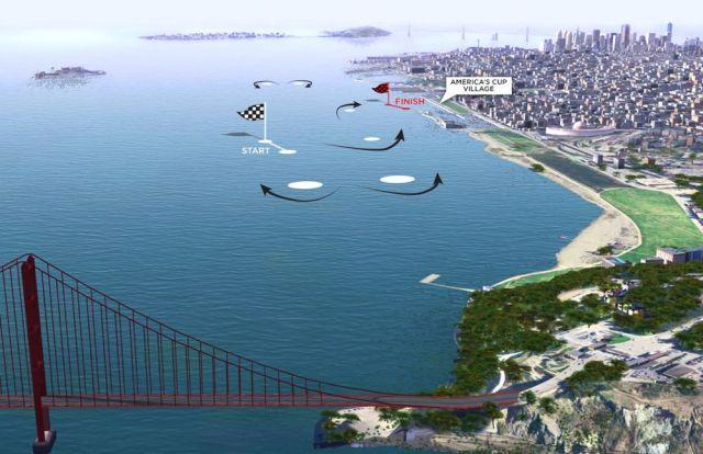 Der Rennkurs vor San Francisco. © americascup.com
