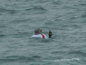Mann über Bord vor dem Start beim Genthe Team. Geistesgegenwärtig dem sinkenden Kompass hinterher gesprungen