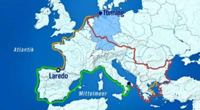 Die Route von Andreas Gabriel. Nach dem zweiten Teil (grün) liegt der Kajakmaran jetzt in Laredo/Spanien.
