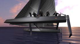 Great Cup 32 Vision: Mit Helm und Flügel-Schwertern über das Wasser fliegen. © Great Cup