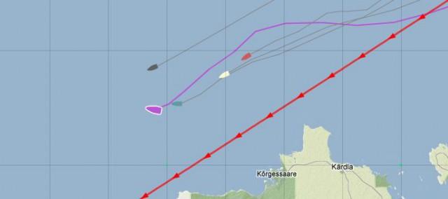 Aber mit den Russen (grün) bleibt Kröger in der Flaute liegen und die Holländer ziehen nördlich vorbei.