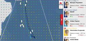 Karte am 25.11. Riou hat nach Brasilien abgedreht, das Führungstrio ist mit Höchstgeschwindigkeit auf Süd-Ost-Kurs eingeschwenkt.