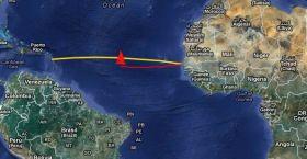 Die Unglückstelle mitten auf dem Atlantik