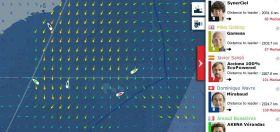 Vendée Globa Karte am 17.1. Jean Le Cam segelt links, Mike Golding kreuzt nach rechts.