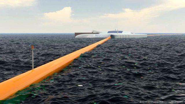 Plastik-Müll Sammler auf dem Meer
