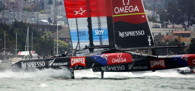 Team New Zealand upwind foiling