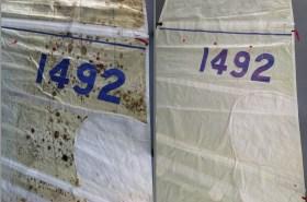 Vor und nach der Reinigung von Sails Support - mehrlagige Tuchverstärkungen werden durch das Vakumverfahren auch durch und durch gereinigt © Sails Support