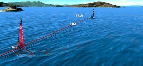 Auch die Kiwis segeln langsame Wenden. Hier sackt der Speed auf 6,4 Knoten ab und die Führung geht verloren.