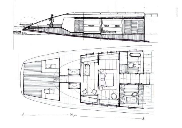 Der Zugang von der Heckterrasse zur Eignerkajüte achtern würde wie bei normalen Booten Mittschiffs üblich durch einen Niedergang mit Schiebeluk erfolgen © Luca Brenta & C.