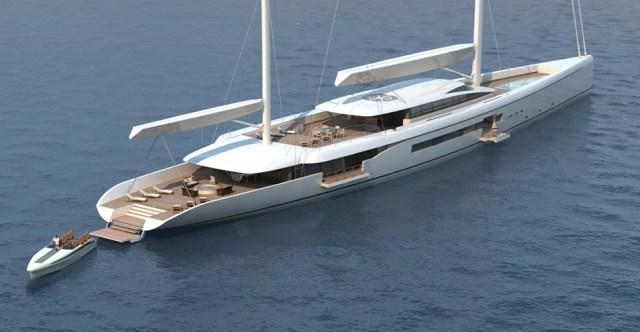 Das Beiboot würde beim Ankern aus dem Vordeck gehoben, dessen Mulde Platz für ein kleines Schwimmbecken böte © Dixon Yacht Design