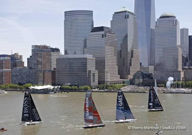Nur vier IMOCA starten vor der New Yorker Skyline © Ocean Masters