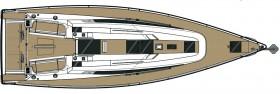 Die Dehler 46 ist 13,95 m lang und 4,35 m lang. Längen-Breitenverältnis 3,2 zu 1 © Hanse Group