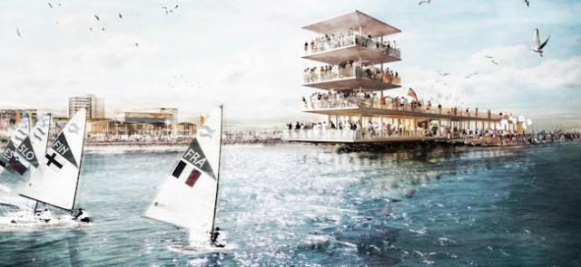 Vision 2024: Von einem vierstöckigen Besuherpavillon am Kopf der verlängerten Nordermole blicken die Zuschauer in Kiel-Schilksee auf die Regattabahn.  Visualisierung: Monokrom, Hamburg