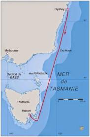 Der 628 Meilen Kurs beim Hochsee-Klassiker Sydney-Hobart.