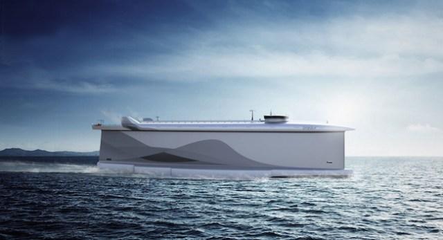 Ein handelsschiff, dessen Rumpf als Segel dient. Bald keine Utopie mehr? © Vindskip