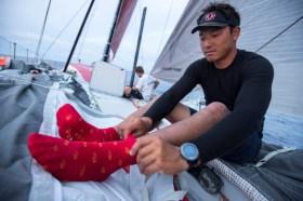 Die Heheimwaffe von Dongfeng. Horace siell die roten Glückssocken von Anfang bis Ende der Teappe tragen. © Sam Greenfield / Dongfeng Race Team / Volvo Ocean Race