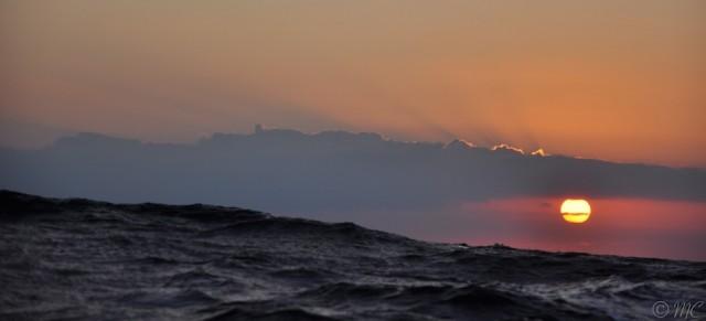 Ein wunderschöner Sonnenuntergang achteraus © Maike Christiansen