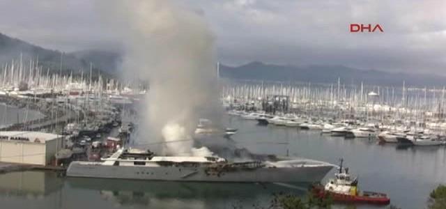 """Auf der 71 Meter Yacht """"The One"""" ist im Hafen von Marmaris das Feuer ausgebrochen."""