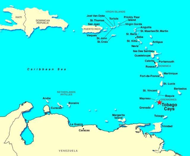 Ort des Überfalls bei den Tobago Cays.
