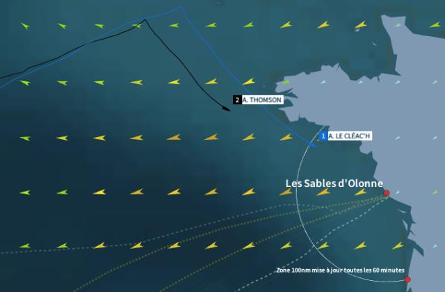 Armel Le Cléac'h hat die 100 Meilen Zone vor dem Ziel erreicht.