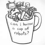 cup of robots ~ on white