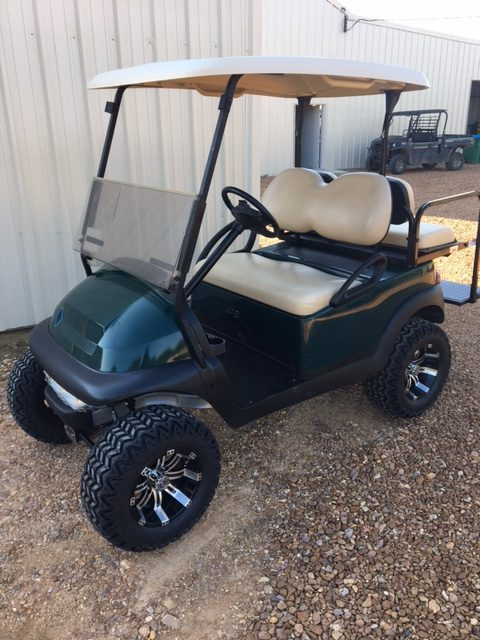 Lifted Green Golf Cart with Flip Seat