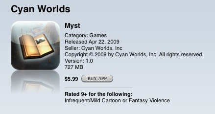 Myst on iTunes Store
