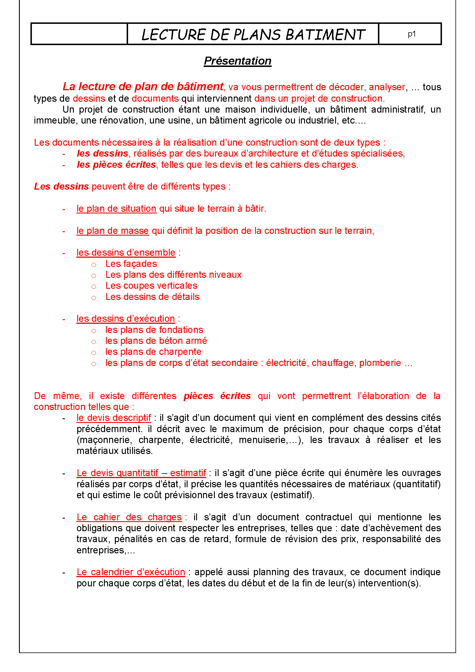 Lecture batiment page 01 for Plans et dessins de construction