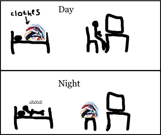 funny-clothes-bed-day-chair-night