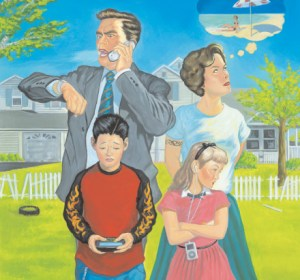 Family distracted by media and daydreams