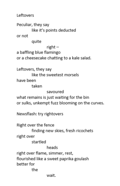 Leftovers Poem 17-4-16