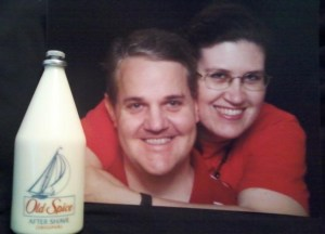 Teresa with her late husband and his last bottle of after shave.