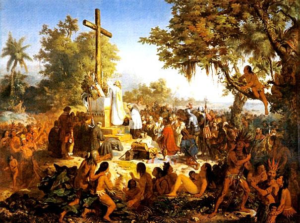 "Imagem: pintura de Victor Meireles, ""A primeira missa no Brasil"", 1861."