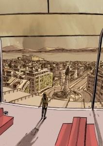 Segunda Vez, Elda observa Lisboa do edifício da Bóreas