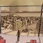 Elda observa Lisboa do edifício da Bóreas