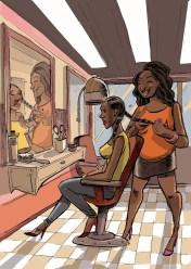Brísida e Verónica no cabeleireiro