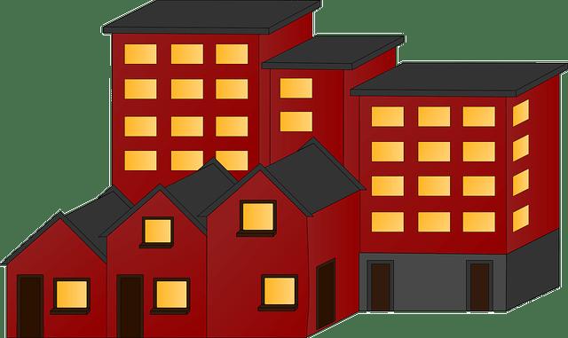 Linea de edificios y casas