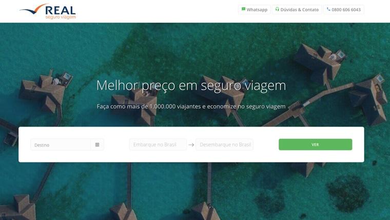 Real Seguro Viagem homepage