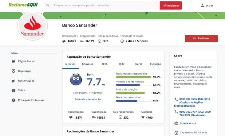 Santander Reclame Aqui