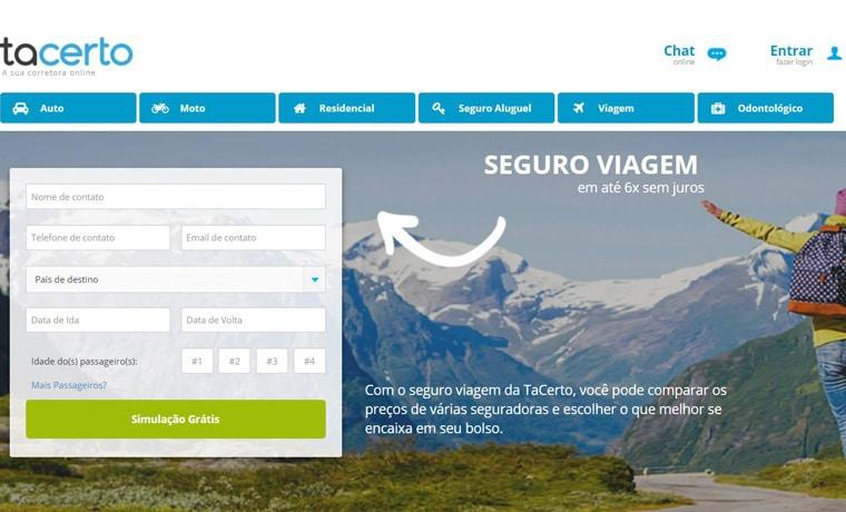 seguro viagem TaCerto site