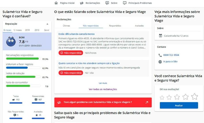 reclame aqui SulAmérica