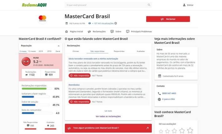 Mastercard Nubank Reclame Aqui
